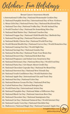 Find joy in living each day to the fullest with this list of fun national holidays and reasons to celebrate every day! Silly Holidays, August Holidays, Holidays And Events, Daily National Holidays, List Of Holidays, National Days In August, Special Holidays, National Vodka Day, National Poetry Day