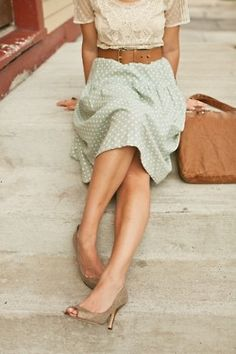 Love the blouse  high-waisted skirt. Cute, dressy but simple look.