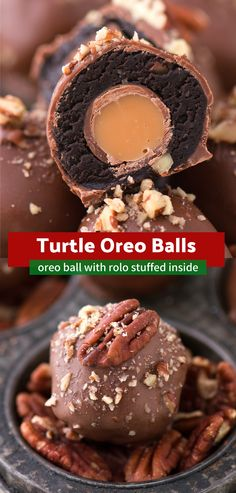 The ultimate turtle oreo balls with chocolate caramel and nuts! Each oreo ball is stuffed with a ROLO! The ultimate turtle oreo balls with chocolate caramel and nuts! Each oreo ball is stuffed with a ROLO! Mini Desserts, Holiday Baking, Christmas Desserts, Just Desserts, Delicious Desserts, The Best Dessert Recipes, Christmas Cupcakes, Sweet Desserts, Plated Desserts