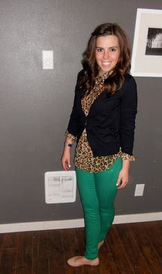 black blazer + leopard + kelly green pants