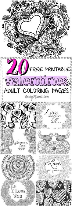 These 20 Valentines Free Printable Adult Coloring Pages are so awesome. I love coloring and these are so full of--well, love!