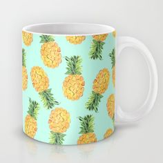 Pineapple Coffee Mug by Amy Sia - 11 oz Cute Coffee Mugs, My Coffee, Coffee Cups, Starbucks Coffee, Coffee Art, Pineapple Kitchen, Cute Pineapple, Pineapple Express, Cute Cups