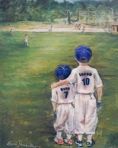 "Baseball Brothers Personalized sport Print, blue uniforms, Names, Numbers  ""SOMEDAY…LITTLE BROTHER"" by Laurie Shanholtzer"