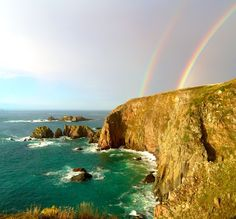 Double Rainbow over the cliffs of Alderney Channel Islands