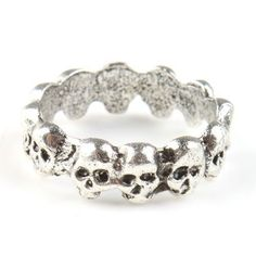 Silver Coloured Skull Design Scarf Ring Woggle (Ideal Little Gift)
