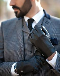 "Every man needs at least one black tie in his wardrobe. It is a perfect choice neck wear for semi-formal functions, or anytime you feel that a bow tie might be considered ""overdressed"". Gold Gloves, Leather Gloves, Leather Men, Black Tie, Solid Black, Dapper Men, Stylish Men, Instagram Fashion, At Least"