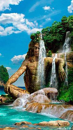 Fantasy Isle with waterfall gif Beautiful Gif, Beautiful World, Beautiful Places, Beautiful Pictures, Amazing Places, Beautiful Waterfalls, Beautiful Landscapes, Gif Bonito, Joker Wallpapers