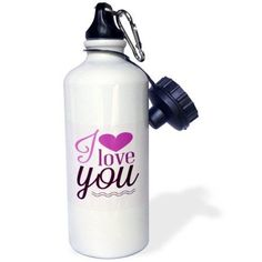 3dRose I Love You In Purple With A Heart, Sports Water Bottle, 21oz