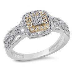 The perfect choice for that special woman, this diamond fashion ring makes a serious statement of style. Expertly crafted in 10K white & yellow gold, the eye is drawn to the squared center frame set with a composite cluster of shimmering round diamonds bordered with a double halo frame of smaller accent diamonds at the center of the style. Twisting diamond-lined ribbons create the ring's quad shank, adding radiant appeal.this ring captivates with 1/2 ct. t.w. of diamonds and a polished…