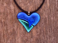 ** Dichroic Fused Glass Heart Shaped Pendant Necklace Jewelry  @PureLightStudio