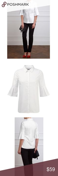 {Pure Collection} Frill Sleeve Button Down Shirt Product description Product code: 84420651  Update your smart separates in the Juliette Shirt from Pure Collection.  Crafted from cotton with a touch of stretch to form the perfect fit, this classic shirt is given a contemporary update with pleat-flared detailing on the cuffs falling to elbow length. Complete with a collared neckline, it is perfect for daytime outfitting.  Wear this modern piece with tailored trousers and court shoes for a…