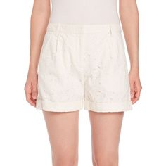 Sonia by Sonia Rykiel Heart-Embroidered Shorts (€245) ❤ liked on Polyvore featuring shorts, apparel & accessories, ecru, embroidered shorts, sonia by sonia rykiel, tailored shorts, cuffed shorts and zipper shorts