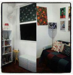 Pequenas mudanças... abajur ao lado do sofá e mesinha amarela perto da janela.... gostei... rsrs. #simplesassimdecorar