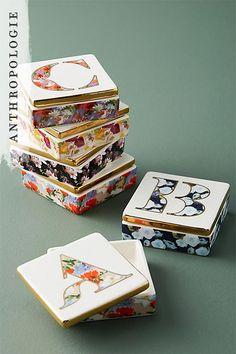 Monogram Lidded Jewelry Box | Anthropologie gifts under $25