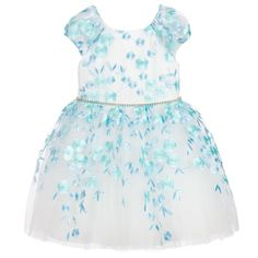 David Charles - Girls Tulle Dress with Embroidered Flowers | Childrensalon