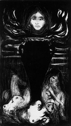 Edvard Munch - The Urn, 1896.  Lithographic crayon, tusche and scraping tool on stone.