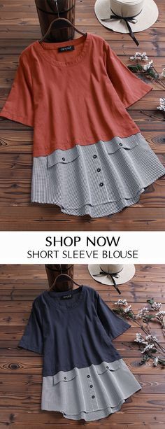 Gracila Patchwork Plaid Irregular Button Short Sleeve Blouse look not only special, but also they always show ladies' glamour perfectly and bring surprise. Bluse Outfit, Cheap Dresses, Short Sleeve Blouse, Refashion, Casual Tops, Blouse Designs, Blouses For Women, Casual Outfits, Tunic Tops