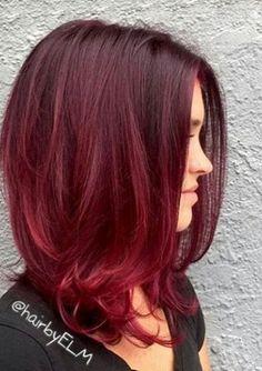100 Badass Red Hair Colors: Auburn, Cherry, Copper, Burgundy Hair Shades - New Hair Red Balayage Hair Burgundy, Auburn Balayage, Red Ombre Hair, Hair Color Auburn, Ombre Hair Color, Short Burgundy Hair, Burgundy Bob, Reddish Hair, Purple Hair