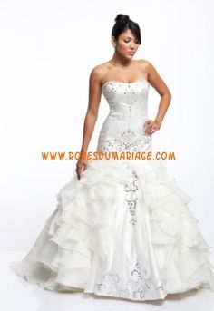 Aalia robe de mariée glamour bustier sirène ornée de cristal et volant organza Style 101-144