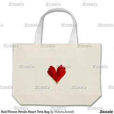 Red Flower Petals Heart Tote Bag