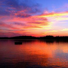 Sunset on Burntside lake in Ely, MN