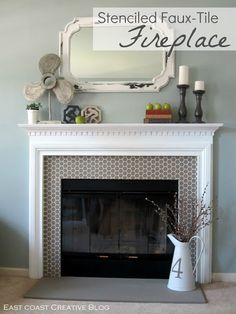stenciled fire place (Awesome!! This started out with untextured peach tile between the mantel and the fireplace. This looks fantastically better. This is a great idea for those boring builder's-grade just-stuck-it-in-there fireplaces.)