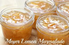 Ingredients 6 Meyer lemons pounds} 4 cups water 4 cups sugar Canning 101 Meyer Lemon MarmaladeDirections Cut the lemons cr. Lemon Jam, Lemon Marmalade, Marmalade Recipe, Jelly Recipes, Jam Recipes, Great Recipes, Cooker Recipes, Drink Recipes, Delicious Recipes