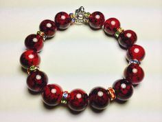 8mm Red Art Glass Beads Spacer CZ Crystal Round Stretch Elastic Bracelet