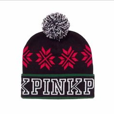 ec93d9a89f696b VICTORIAS SECRET PINK NATION KNIT WINTER HOLIDAY BEANIE HAT CHRISTMAS NIP # fashion #clothing #
