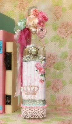 Paris Decorated Glass Bottle Vintage Altered Art by BlissfulBoxes, $30.00
