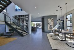 Sunset Built Designed and Constructed #LosAngeles contemporary modern new #construction with warm dramatic lines.