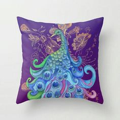 Purple Peacock Pillow Cover cushion cover by ArtfullyFeathered Peacock Bedroom, Peacock Pillow, Peacock Decor, Peacock Art, Peacock Theme, Peacock Design, Throw Pillow Covers, Throw Pillows, Couch Pillows