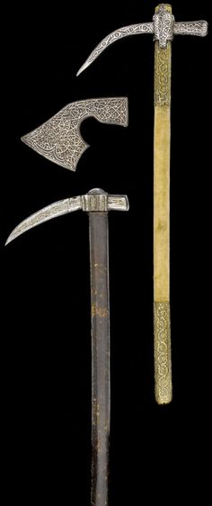 Two Ottoman steel war hammers (kulunk) and one steel axe head, 17th - 19th centuries, the hooks of the two war hammers overlaid with brass and silver decoration, consisting of bands of continuous interlace, the axe head overlaid with silver decoration consisting of dense interlace and studded motifs.