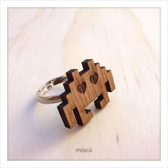 Wooden Space Invader ring  #ring