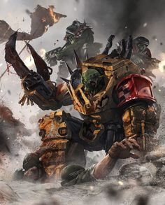 Orks curb stomping space marines.