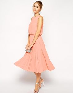 Enlarge ASOS Midi Skater Dress with Pleated Skirt and Blouson Top