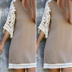 Fringe Crochet Sleeve Dress Worn once. Semi Sheer. Size Medium. Absolutely Gorgeous Boutique Dresses