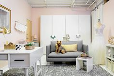 The cofounders of M. Flynn Jewelry, Megan and Moria Flynn, knew that they needed an upgrade for their back of house office and design space. Homepolish's Caroline Hughes designed a space that not only served their function but also reflected their brand. Their dog, Stuart, approves.