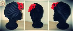 Turbante en negro cerrado con amapolas en rojo.