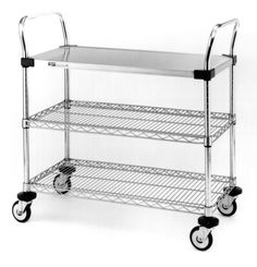 MW 400 Series Standard Duty Utility Cart with (1) Stainless Steel Solid Shelf and (2) Chrome Wire Shelves.  Available in a variety of sizes.