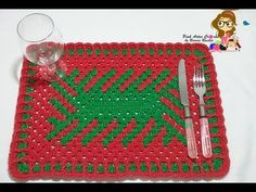 Jogo Americano Natalino em fio conduzido - passo a passo - Pink Artes Croche by Rosana Recchia - YouTube