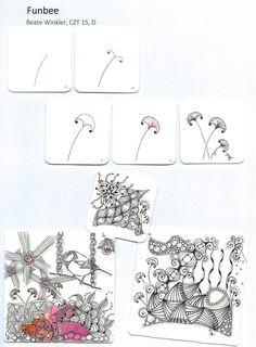 Die Zentangle Muster heißen Tangle, die jeweils einen weltweit gültigen Namen bekommen, damit sie gut gefunden werden. Beate Winkler, CZT hat diese Tangles designt.
