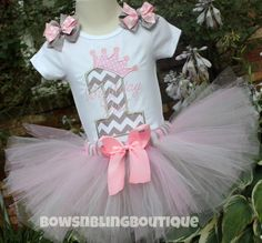 I just love this cute pink and grey first birthday tutu outfit! Your little one will look absolutely precious in this! The personalized shirt is embroidered wit