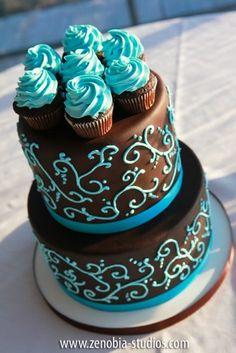 wedding cake, modern, fondant, simple, elegant, chocolate, blue, piping, swirls, cupcakes