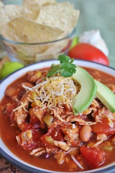 Chicken Taco Soup {Slow Cooker} - personally I'd omit the black beans and use all pinto for the beans or sub kidney beans instead of the black beans.