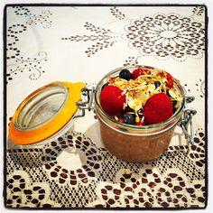 Overnight Oats & Chia w Cocoa & Peanut Butter  #mealforameal #instafood #foodpic #foodelicious #oats #chia #chiashake #breakfast #breakfastpudding #brekkie #cocoa #almonds #almondmilk #raspberry #blueberry #coconut #oatsandchiapudding #chocolaty #yummygoodness #healthyeating #peanutbutter #vanilla #maplesyrup #toastedalmonds #toastedcoconut #overnightoats
