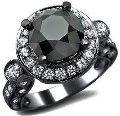 4.20ct Black Round Halo Diamond Engagement Ring 18k Black Gold