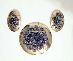 Goldtone Purple LaRage Brooch and Pierced Earrings Jewlery Set druzy France fun #LaRage #fun