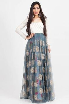 Anarkali featuring cream and gold embellished brocade, dusky blue net with floral silk lining and gold motifs by holiCHIC Indian Attire, Indian Wear, Indian Outfits, Indian Style, Ethnic Fashion, Indian Fashion, Womens Fashion, Lehenga Choli, Anarkali
