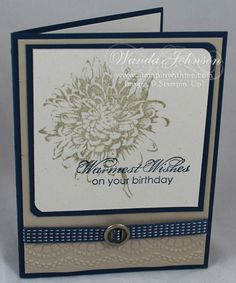 Wanda used Blooming With Kindness, Delicate Designs embossing folder, and ribbon with a Round Designer Ribbon Slide for this beautiful card. Love the color combo of Midnight Muse & Crumb Cake.